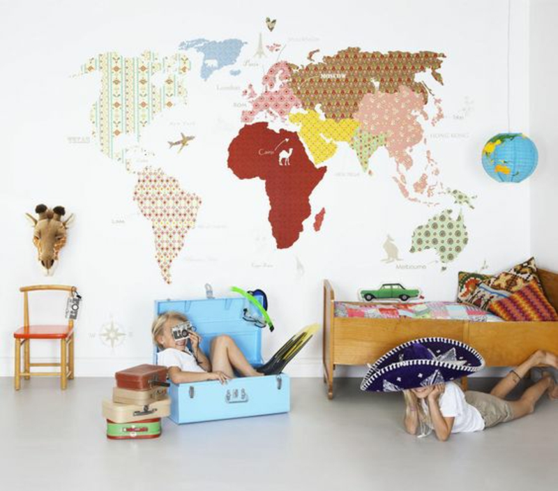Pattern wallpaper world map wallpaper kids room design
