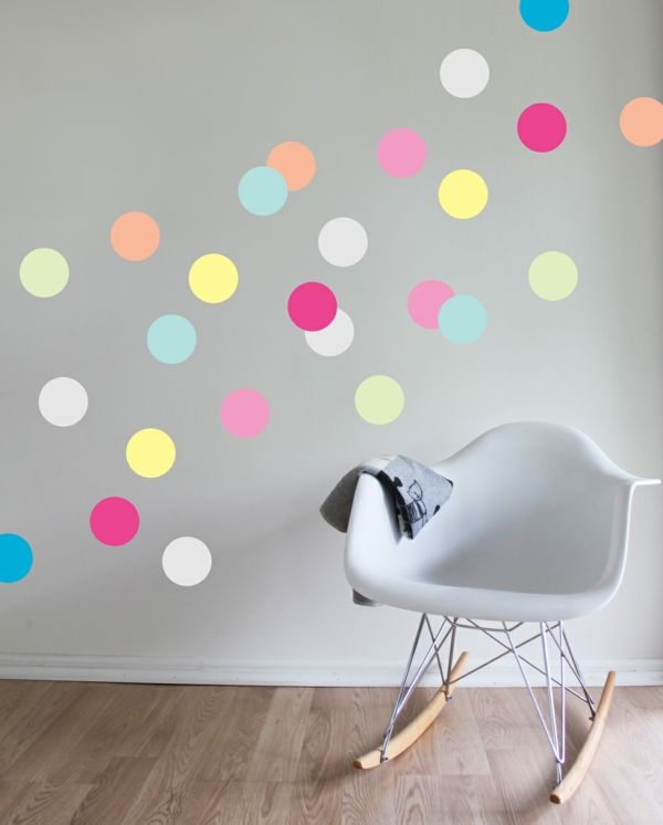 kids room wall stickers colored dots rocking chair