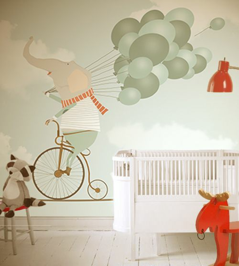 Pattern wallpaper elephant with balloons wallpaper for nursery design