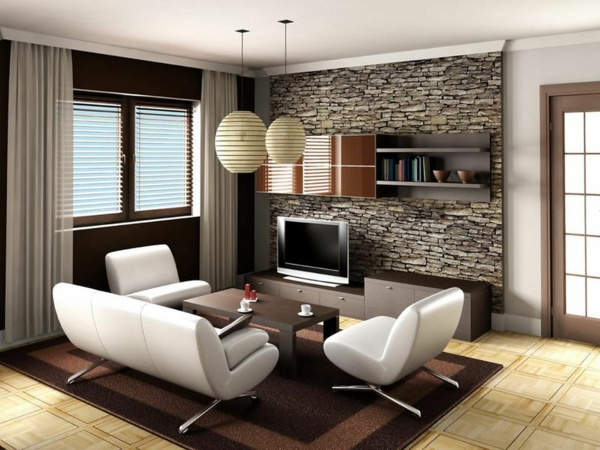 accent wall with stone wallpaper living room design