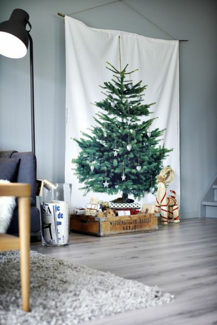 Christmas tree artificially artificial Christmas tree test by wall canvas