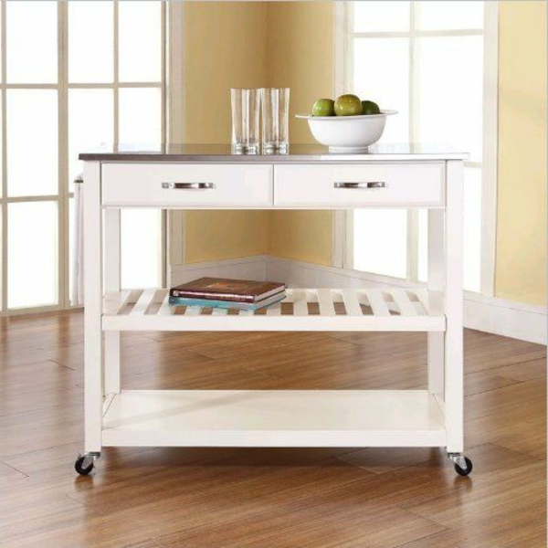 Portable great kitchen island white drawers