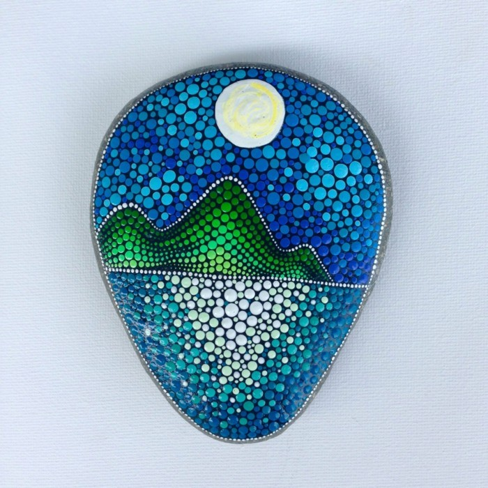 Manala pattern stones paint crafting with natural materials dots