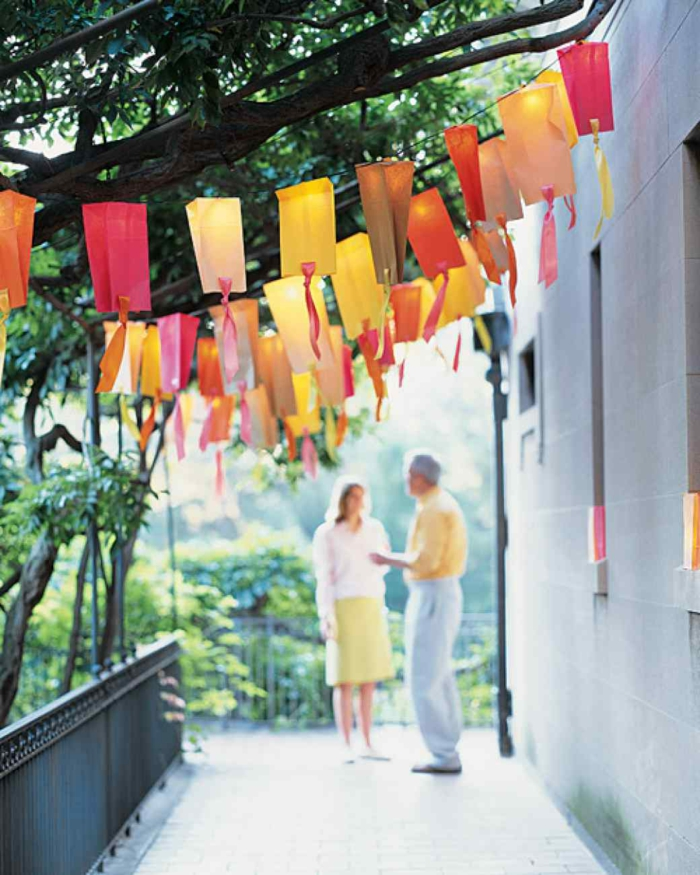 party decoration ideas summer party colored garlands hanging