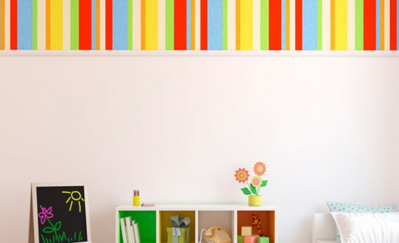 Wallpaper nursery rainbow colors stripes accent