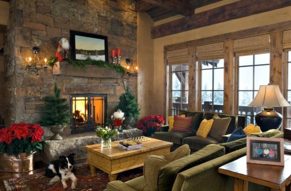 Rustic room with a subtle Christmas decoration