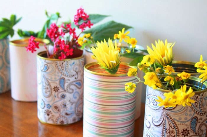 deco flowers old cans reuse flowers vases