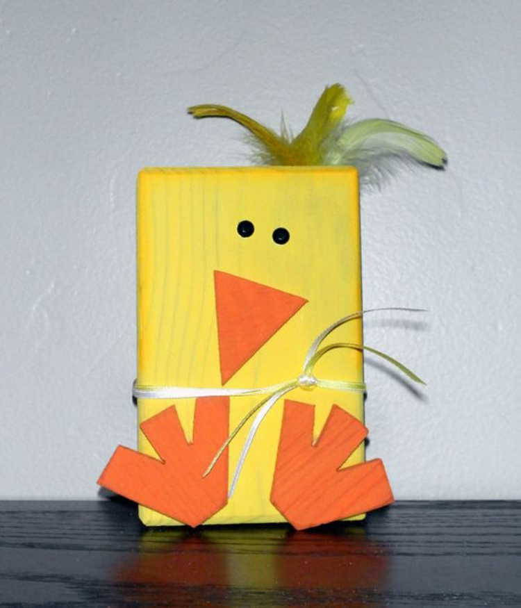Easter decoration made of wood Deco products Easter decoration ideas chick yellow