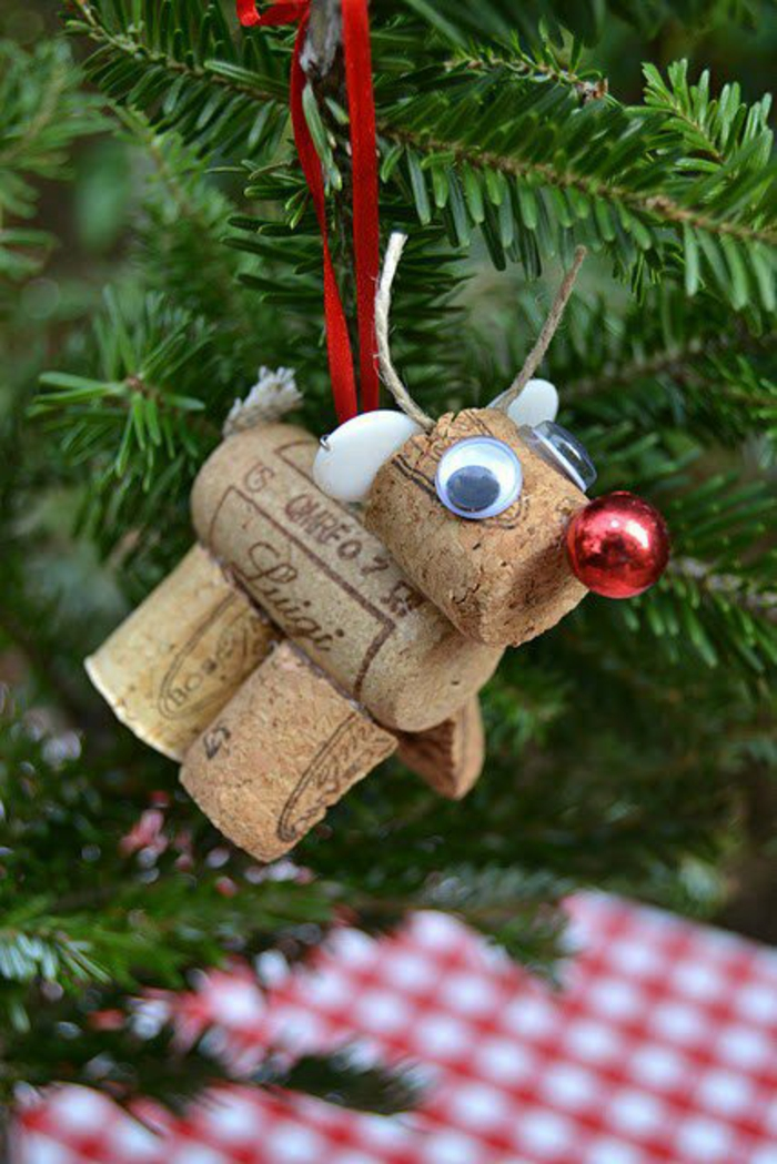 craft ideas christmas cork figure rudolf tree pendant