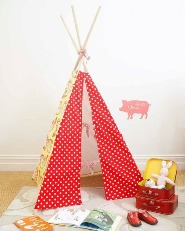 playful tents children dotted red