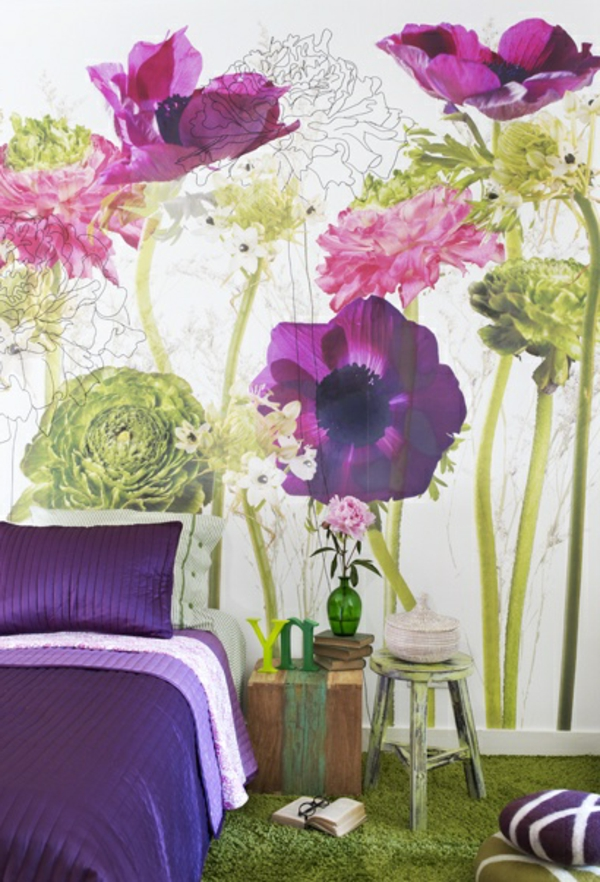 wall design bedroom wallpaper flowers