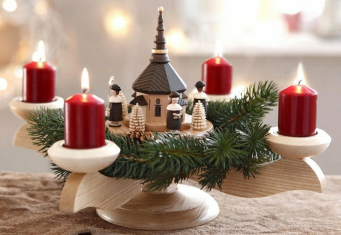 diy advent wreath candlestick wood motifs