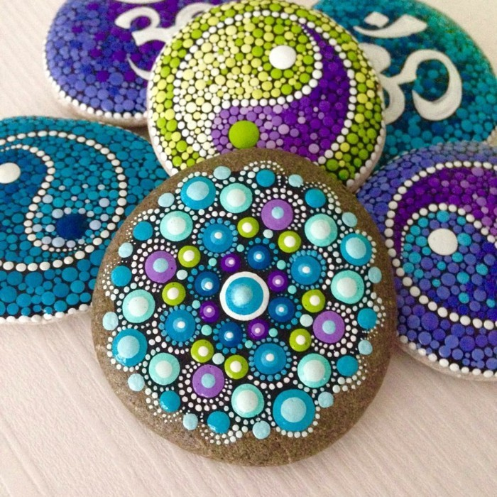madnala pattern stones painted tinkering colorful ideas