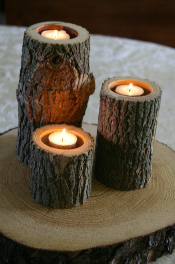 tree trunk decoration diy projects candle stand build yourself