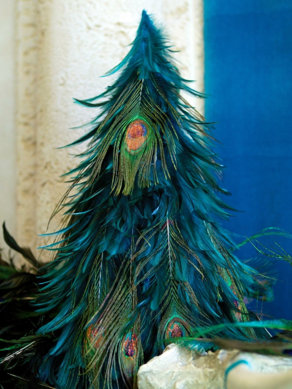 Peacock feather rustic Christmas decoration
