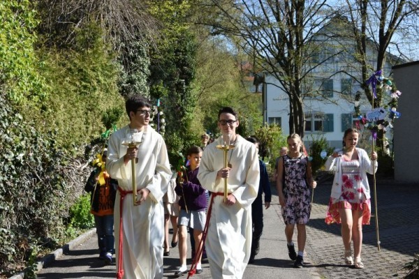 Procession Palm Sunday in many places of Germany