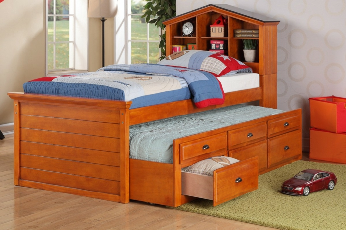 cots design roll-away drawers compact kids room
