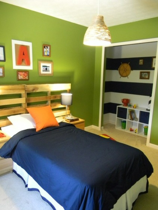 youth room for boy shape wall paint bright green wood palette headboard