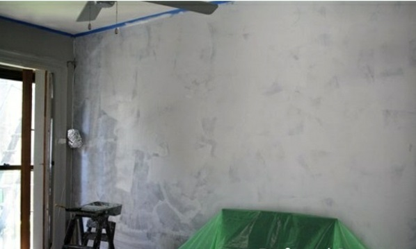 Renovate wall paint with concrete look before