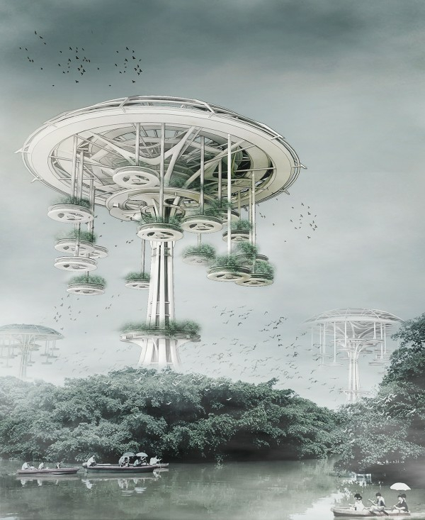sustainable building round shapes floating village trees of life