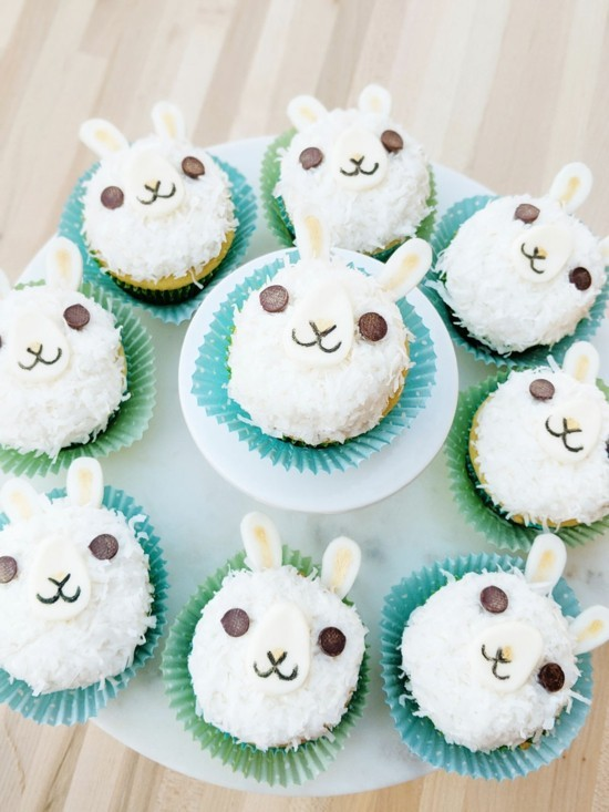 Bake lama muffins and use birthday decorations