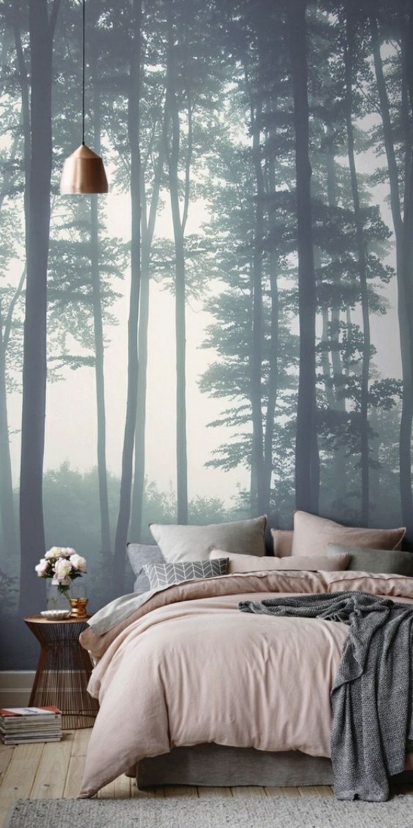 photo wallpaper bedroom beautiful trees