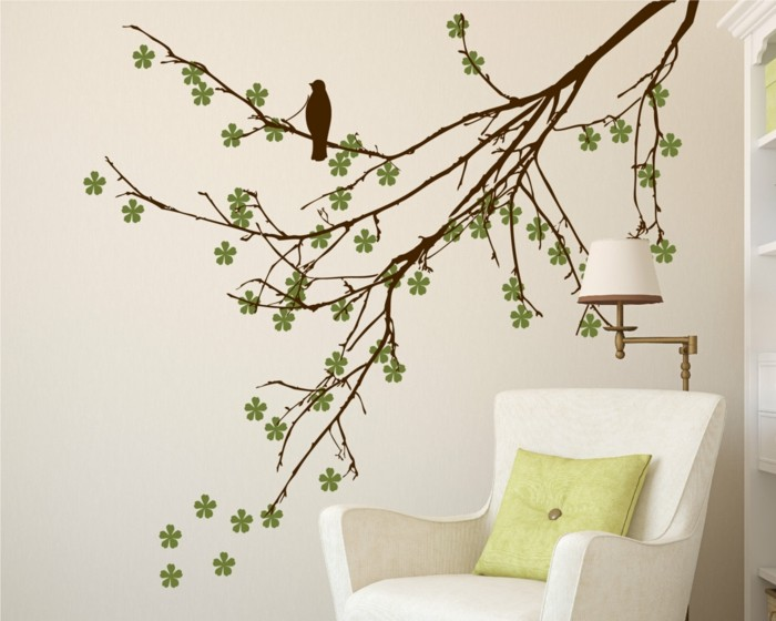 beautiful wall decals tree branches flowers armchair green throw pillow