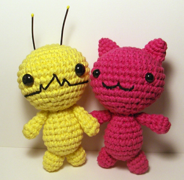 amigurumi two critters crochet red yellow