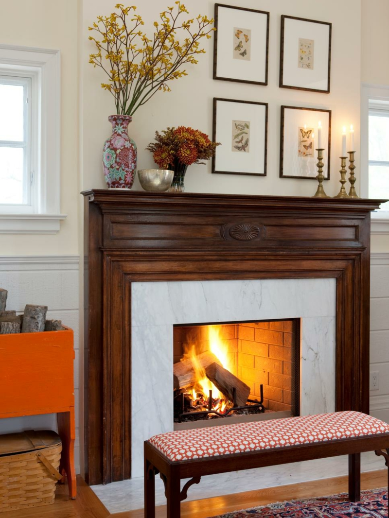 Furnishing ideas living room fireplace decoration examples