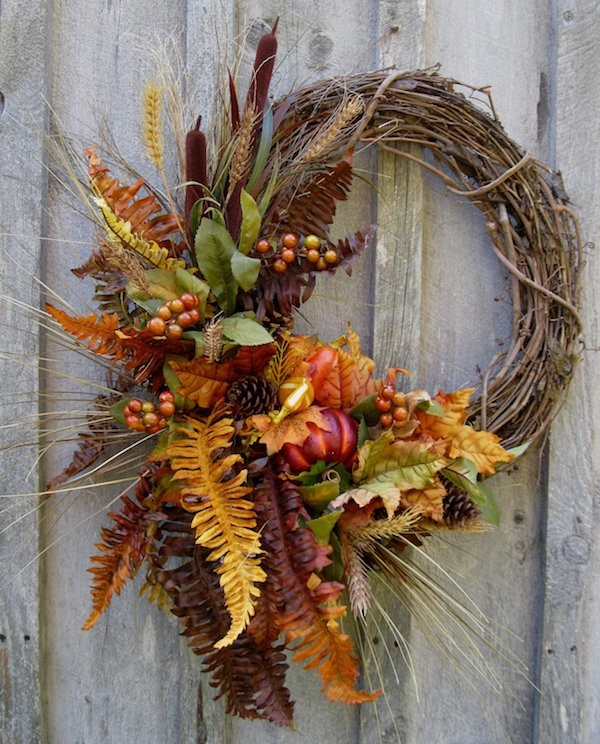 Autumn decoration Gifts of nature wreath inviting front door