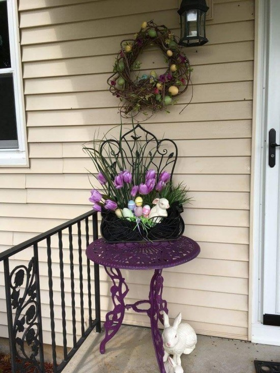 Purple tulips Easter basket