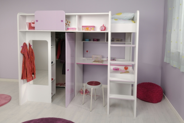 compact crib girl desk high bed