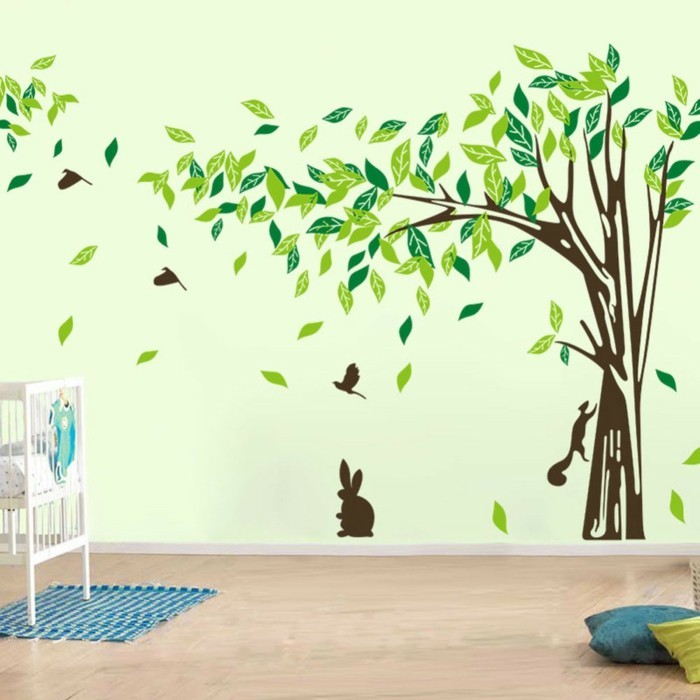 beautiful wall tattoos leaves tree light gray wall paint