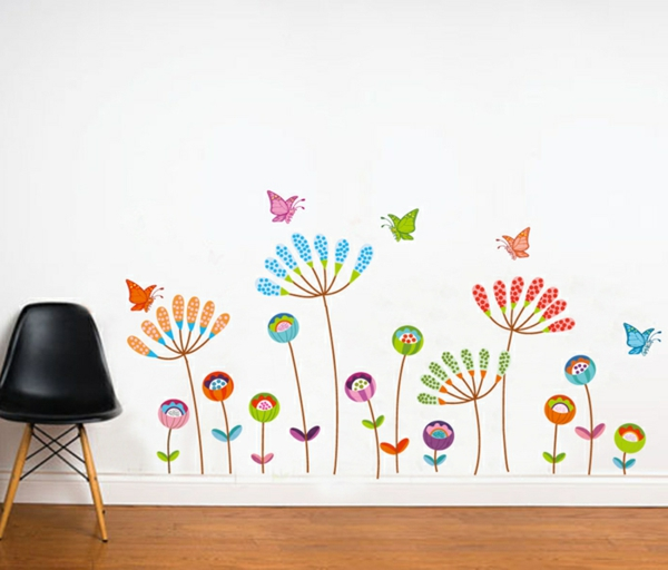 children's room walls stickers colored flowers