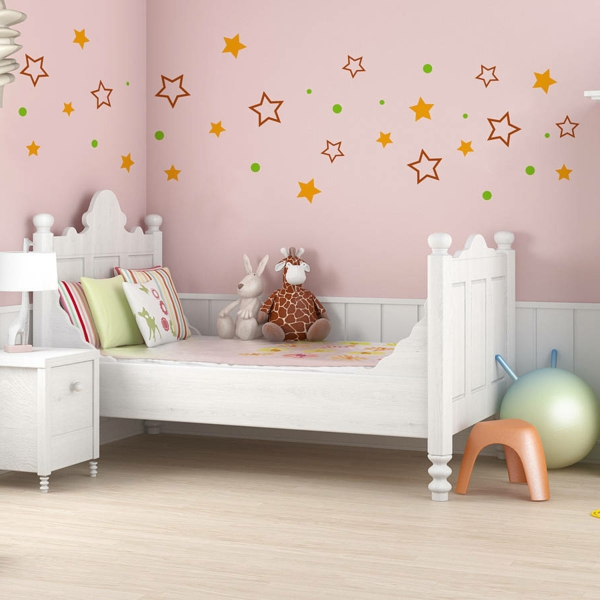 wall stickers kids room light pink walls white furniture