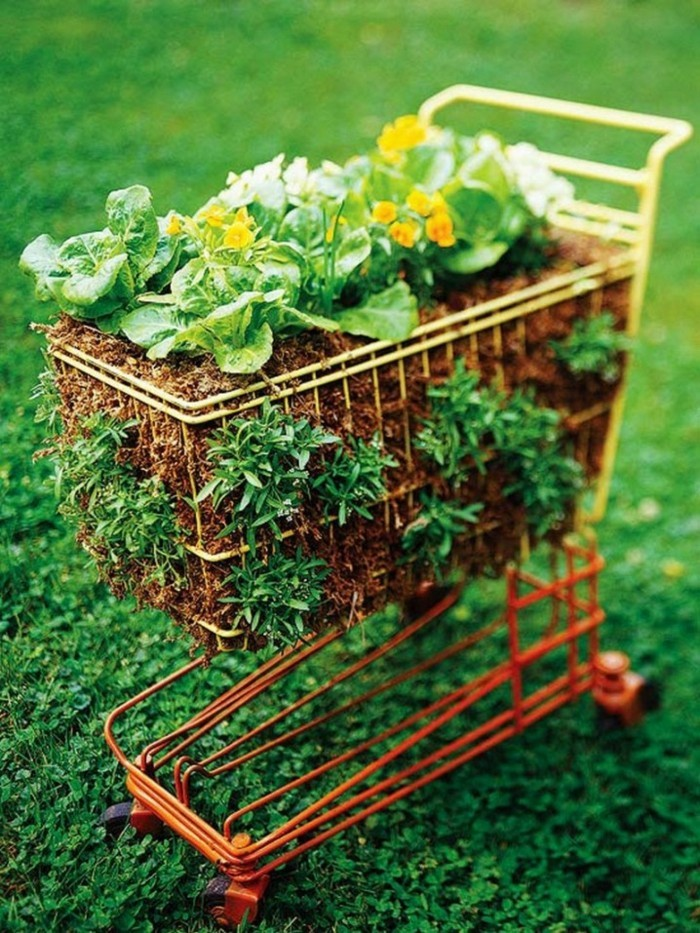 Old shopping cart as a flower container