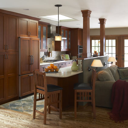 Kitchen beams wood table chair wall design