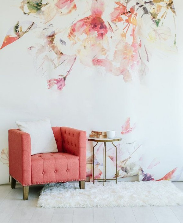 Wall color watercolor painting flowers
