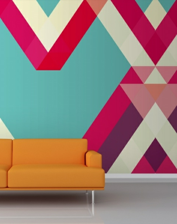 wallpaper geometric pattern orange sofa