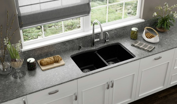 gray color of kitchen sink