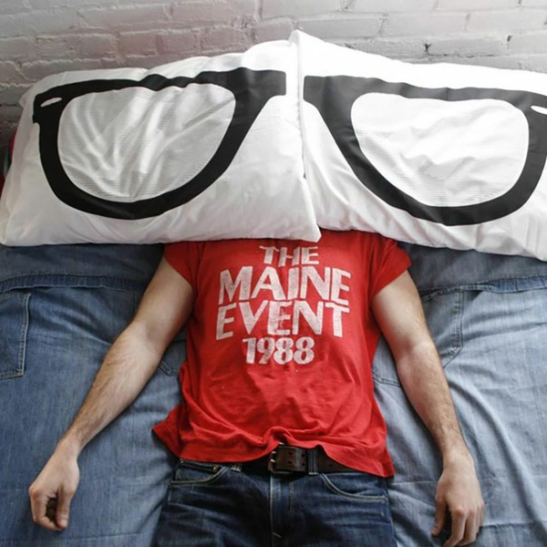 Creative deco white black pillow glasses