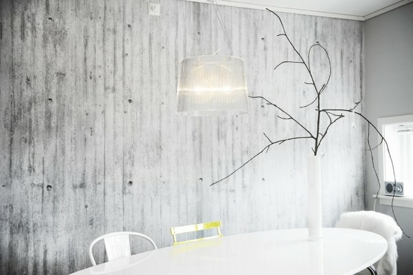 Wall paint dining table white acrylic concrete look white furnishing