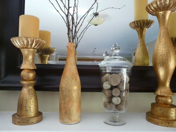 diy ideas bottles decorate golden chic