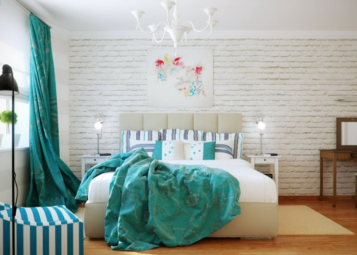 decor ideas bedroom picture brick wall long green curtains