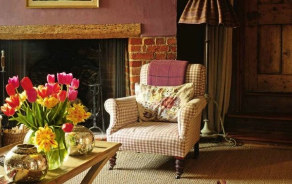 country style living room furniture fireplace tulips table decoration