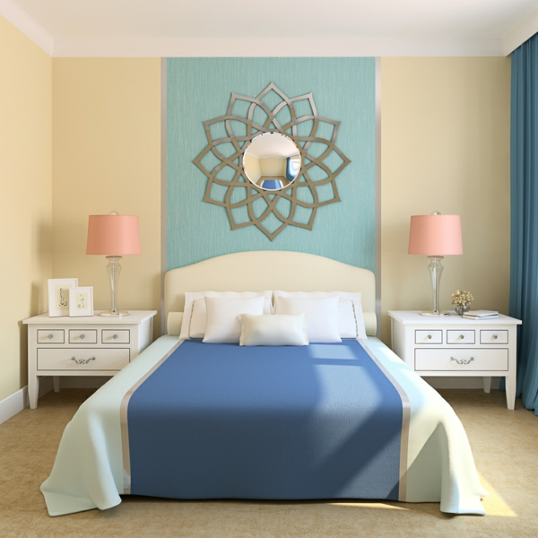 mint green in combination with other colors in the bedroom