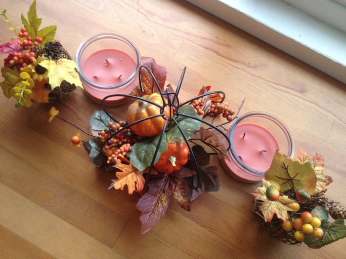 table decoration autumn with natural materials