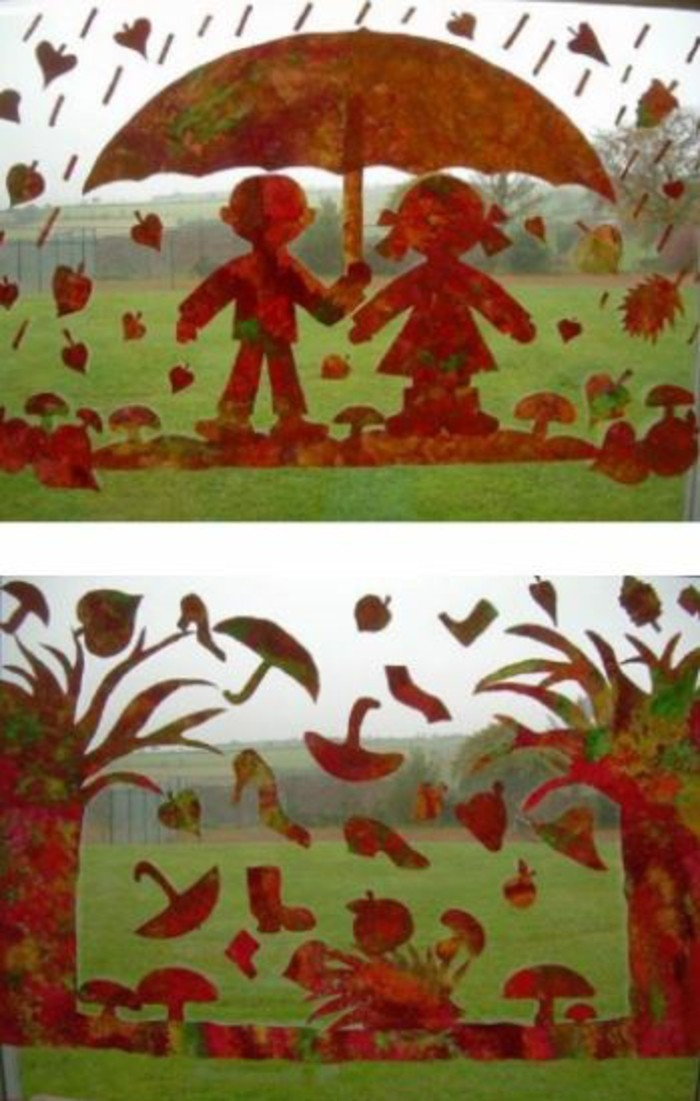 Making window pictures with children's picture motifs