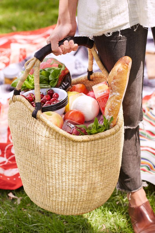basket with products picnic ideas