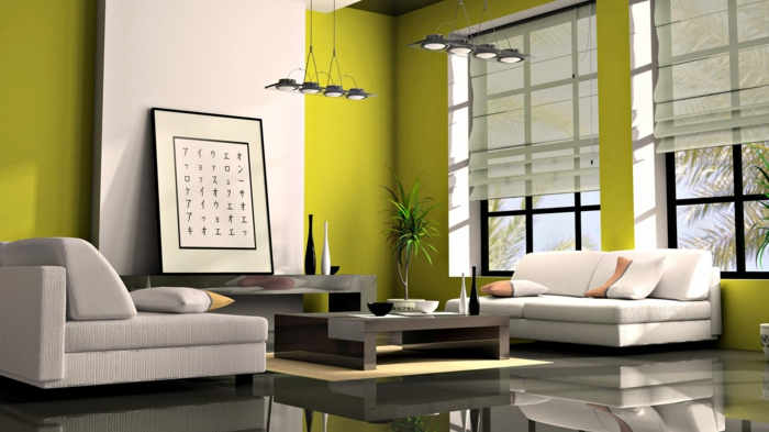 Japanese decor living room in Japanese style wall paint green
